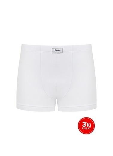 Sementa Erkek Modal Boxer 3'Lü Paket - Beyaz Beyaz